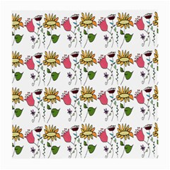 Handmade Pattern With Crazy Flowers Medium Glasses Cloth (2-Side)