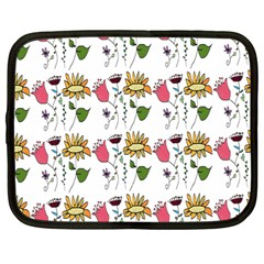 Handmade Pattern With Crazy Flowers Netbook Case (large)
