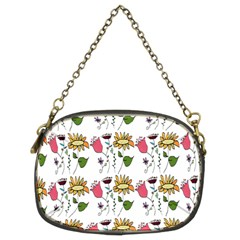 Handmade Pattern With Crazy Flowers Chain Purses (Two Sides)