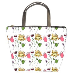 Handmade Pattern With Crazy Flowers Bucket Bags
