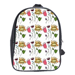 Handmade Pattern With Crazy Flowers School Bags(Large)