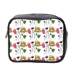 Handmade Pattern With Crazy Flowers Mini Toiletries Bag 2-Side