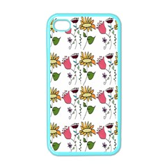 Handmade Pattern With Crazy Flowers Apple iPhone 4 Case (Color)