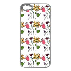 Handmade Pattern With Crazy Flowers Apple iPhone 5 Case (Silver)