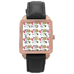 Handmade Pattern With Crazy Flowers Rose Gold Leather Watch