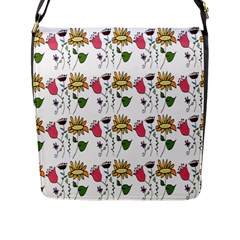 Handmade Pattern With Crazy Flowers Flap Messenger Bag (L)