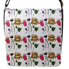 Handmade Pattern With Crazy Flowers Flap Messenger Bag (S)