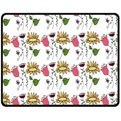 Handmade Pattern With Crazy Flowers Double Sided Fleece Blanket (medium)