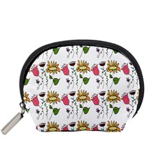Handmade Pattern With Crazy Flowers Accessory Pouches (Small)