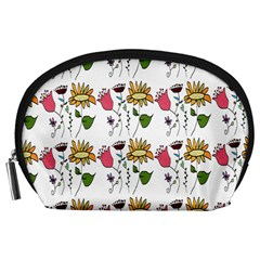 Handmade Pattern With Crazy Flowers Accessory Pouches (Large)