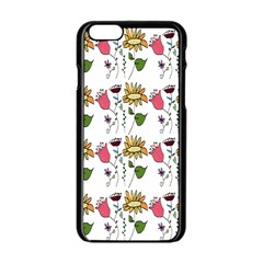 Handmade Pattern With Crazy Flowers Apple Iphone 6/6s Black Enamel Case