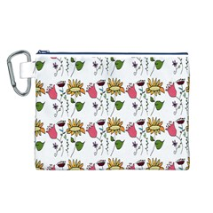 Handmade Pattern With Crazy Flowers Canvas Cosmetic Bag (L)