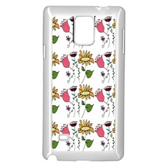 Handmade Pattern With Crazy Flowers Samsung Galaxy Note 4 Case (white)