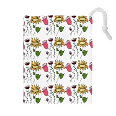 Handmade Pattern With Crazy Flowers Drawstring Pouches (Extra Large)