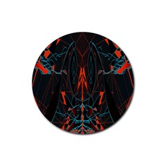 Doodle Art Pattern Background Rubber Round Coaster (4 pack)