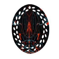 Doodle Art Pattern Background Oval Filigree Ornament (Two Sides)