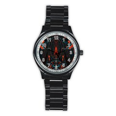 Doodle Art Pattern Background Stainless Steel Round Watch