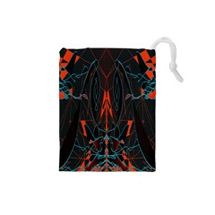 Doodle Art Pattern Background Drawstring Pouches (Small)
