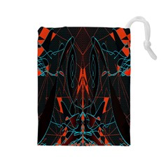 Doodle Art Pattern Background Drawstring Pouches (Large)