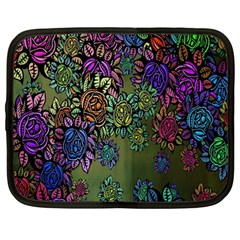 Grunge Rose Background Pattern Netbook Case (large)