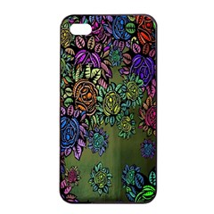 Grunge Rose Background Pattern Apple iPhone 4/4s Seamless Case (Black)