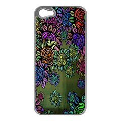 Grunge Rose Background Pattern Apple iPhone 5 Case (Silver)