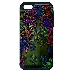 Grunge Rose Background Pattern Apple iPhone 5 Hardshell Case (PC+Silicone)