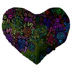 Grunge Rose Background Pattern Large 19  Premium Heart Shape Cushions
