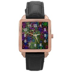Grunge Rose Background Pattern Rose Gold Leather Watch