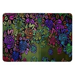 Grunge Rose Background Pattern Samsung Galaxy Tab 8.9  P7300 Flip Case