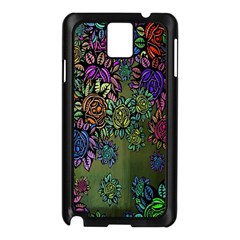 Grunge Rose Background Pattern Samsung Galaxy Note 3 N9005 Case (black)