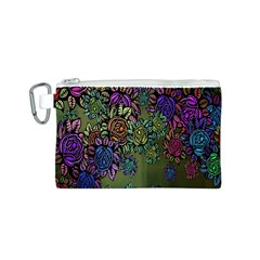 Grunge Rose Background Pattern Canvas Cosmetic Bag (s)