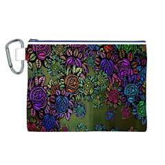Grunge Rose Background Pattern Canvas Cosmetic Bag (l)