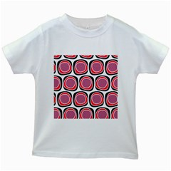 Wheel Stones Pink Pattern Abstract Background Kids White T-Shirts
