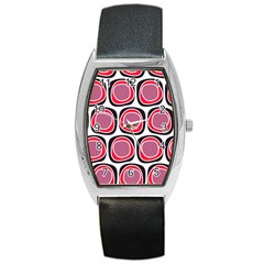Wheel Stones Pink Pattern Abstract Background Barrel Style Metal Watch