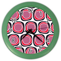 Wheel Stones Pink Pattern Abstract Background Color Wall Clocks