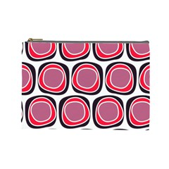 Wheel Stones Pink Pattern Abstract Background Cosmetic Bag (Large)