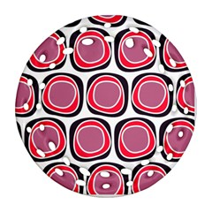 Wheel Stones Pink Pattern Abstract Background Ornament (Round Filigree)