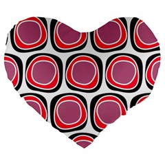 Wheel Stones Pink Pattern Abstract Background Large 19  Premium Heart Shape Cushions