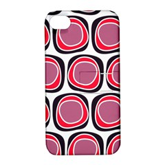 Wheel Stones Pink Pattern Abstract Background Apple iPhone 4/4S Hardshell Case with Stand