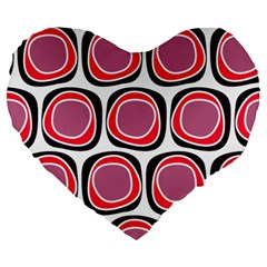 Wheel Stones Pink Pattern Abstract Background Large 19  Premium Flano Heart Shape Cushions