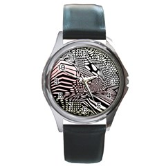 Abstract Fauna Pattern When Zebra And Giraffe Melt Together Round Metal Watch