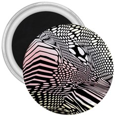 Abstract Fauna Pattern When Zebra And Giraffe Melt Together 3  Magnets