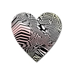 Abstract Fauna Pattern When Zebra And Giraffe Melt Together Heart Magnet