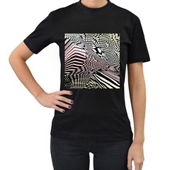 Abstract Fauna Pattern When Zebra And Giraffe Melt Together Women s T-Shirt (Black) (Two Sided)