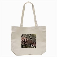 Abstract Fauna Pattern When Zebra And Giraffe Melt Together Tote Bag (Cream)