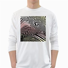 Abstract Fauna Pattern When Zebra And Giraffe Melt Together White Long Sleeve T Shirts