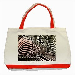 Abstract Fauna Pattern When Zebra And Giraffe Melt Together Classic Tote Bag (red)