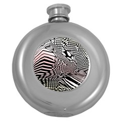 Abstract Fauna Pattern When Zebra And Giraffe Melt Together Round Hip Flask (5 Oz)
