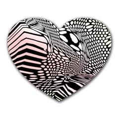 Abstract Fauna Pattern When Zebra And Giraffe Melt Together Heart Mousepads